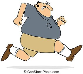 Fat man sprinting - This illustration depicts a chubby man...