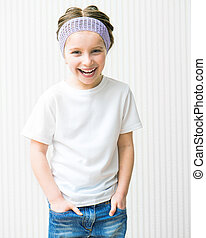 ittle girl in white t-shirt - smiling little girl in white...