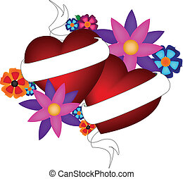 Floral Tattoo Heart with banner