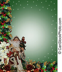 Christmas Border Victorian Santa - Image and illustration...