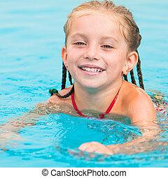 pretty little girl in swimming - Cute little girl in...