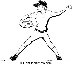 Boy Baseball Pitcher - Black and white illustration of a boy...