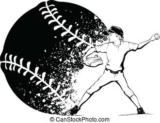 Boy Pitcher with Splatter Baseball