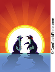 Two Penguins are talking lively at the morning when a...