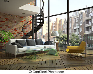 Modern loft interior with part of second floor Photo outside...