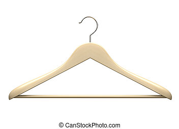 Wood hanger isolated on the white background illustration
