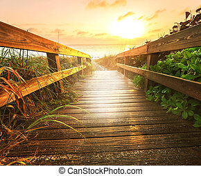Boardwalk on beach - boardwalk on beach