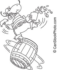 pirate on a barrel outlined - illustration of a pirate on a...