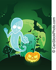 Halloween poster with ghost