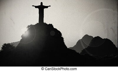 Corcovado Sunset 4 vintage - Corcovado Mountain Cristo...