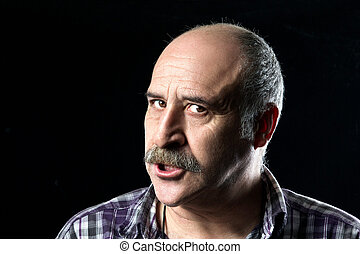 Bald Man with Mustaches Very Angry - Portrait of annoyed...