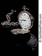 Pocket watch reflection on black shiny surface detail