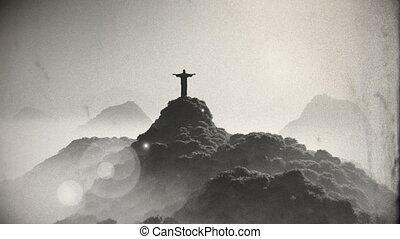 Corcovado Sunset 5 vintage - Corcovado Mountain Cristo...