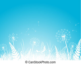 Dandelion Background - Silhouettes of Dandelion Abstract...