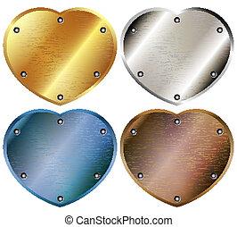 A set of metal hearts