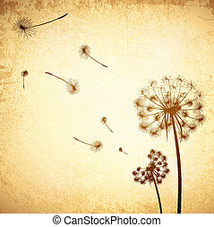 Vintage Dandelion Background - Illustration of Vintage...