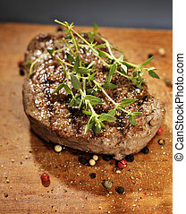 Tenderloin Steak - Fried beef tenderloin steak with thyme...