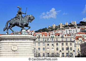 Praca da Figueira, Lisbon, Portugal - Statue of Joao I, with...