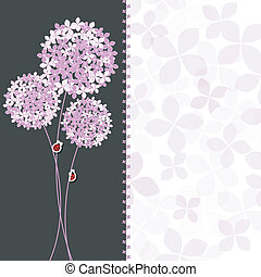 Springtime Purple Pink Hydrangea Flower Greeting Card on...