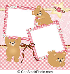 Baby girl photo frame - Scalable vectorial image...