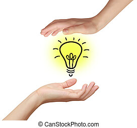Two woman hands holding idea bulb with yellow light isolated on white background