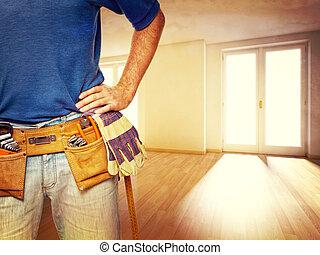 handyman at home - closeup image of handyman at home