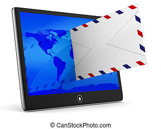 tablet and envelope on white background Isolated 3D image