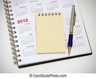 2012 calendar notebook and pen