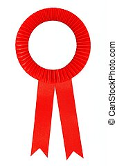 Red ribbon award isolated on white background