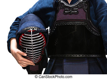 Close up of kendo men in hands of kendoka - Close up of...