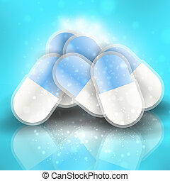 Medical pills - tablets vector illustration on reflective...