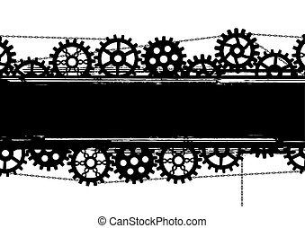 gears banner - vector banner with gears and chains in black...
