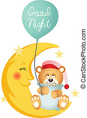 Good night teddy bear - Scalable vectorial image...