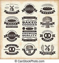 vendimia, panadería, Etiquetas, Conjunto