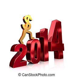 More Money In 2014 - A gold dollar sign climbing shiny, red...