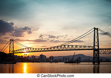 Hercilio Luz at Sunset - The Hercilio Luz Bridge, in...