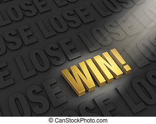 "You Can Win! - A spotlight illuminates a bright, gold ""WIN""..."