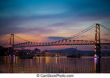 Suspension Bridge at Sunset - The Hercilio Luz Bridge, in...