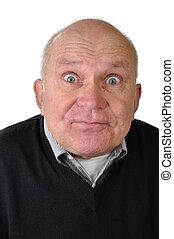 senior man making faces