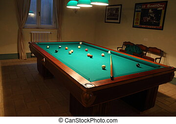 Billiards - Pool table with balls and shadows - Billiards -...