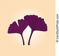 Purple gingko leaf isolated on brown background - Hand drawn...