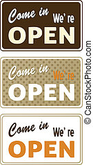 Set of retro open signs isolated on white - Set of retro...