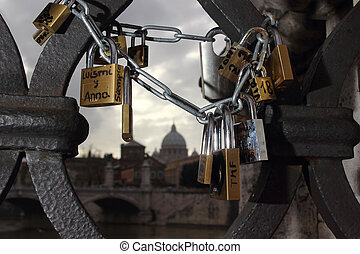 Padlocks of love - Padlocks locked in a bridge in Rome...