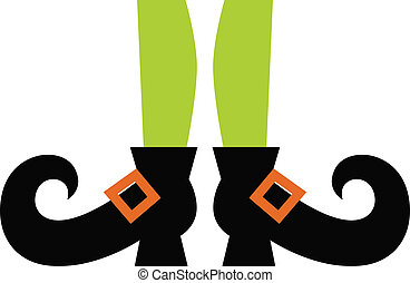 Cute Witch legs isolated on white - Cartoon witch legs...