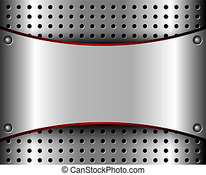 Background with a metal plate and grille - Background with a...