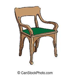 jugendstil chair - Hand drawn illustration of an 1900 style...