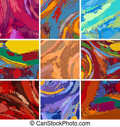 abstract painting background design set - Vector...