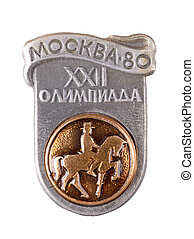 Soviet badge with Olympic games isolated on a white...