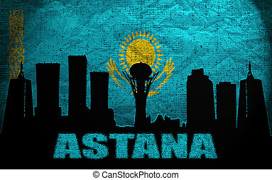 View of Astana on the Grunge Kazakhstan Flag