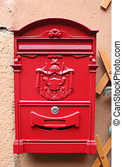 """Red reproduction of wall mailbox of italian """"Regie Poste""""..."""